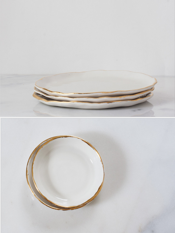 suite one studio, gold rimmed plates, white and gold