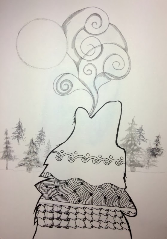 howling wolf work in progress by Stephanie Jennifer