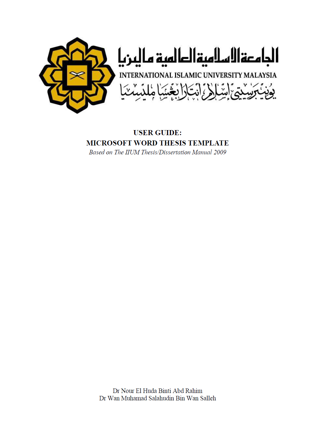 Thesis template iium