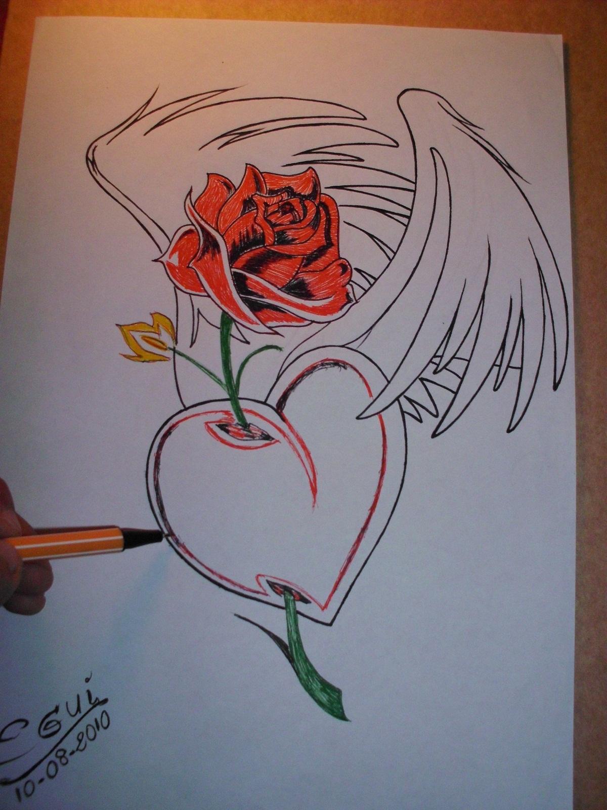Creando dibujando creando una rosa con alas y coraz n for Papel para dibujar