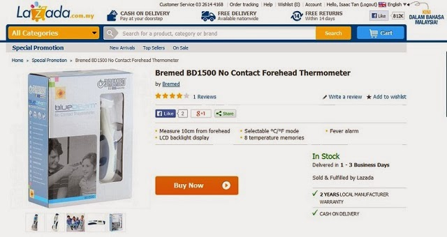 Lazada.com.my: Getting A 'No Contact Thermometer' For Baby Martin