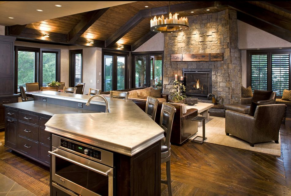 Rustic Open Kitchen and Living Room