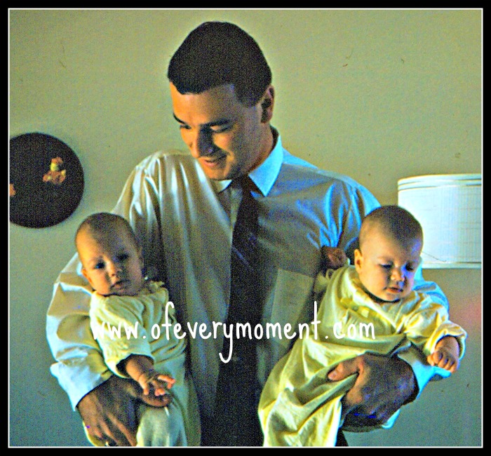 Dad, twin babies