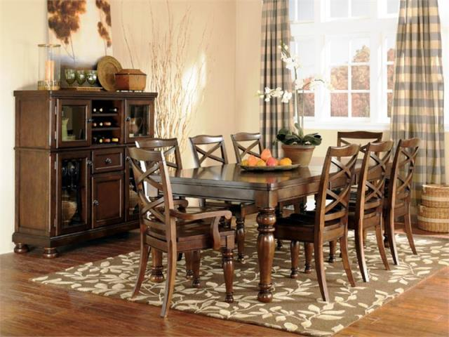porter dining room set dark wood ashley furniture porter dining room