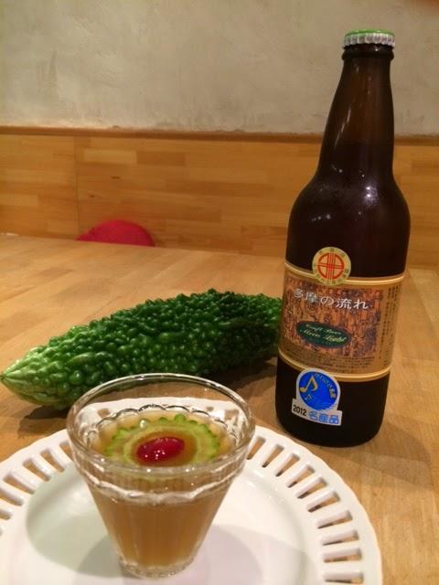 川崎の地ビールとにがうりのゼリー