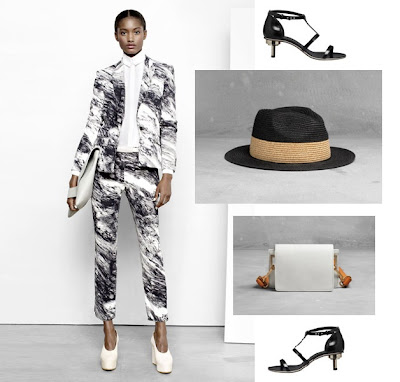 Black and white suit, heels and accessories from & Other Stories