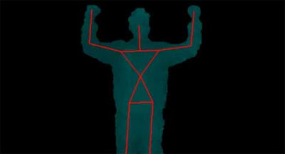 Calibration pose illustration - silhouette of a person, with lines drawn on it