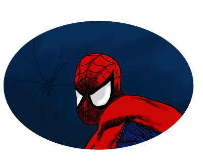 Portrait de Spiderman en couleur.