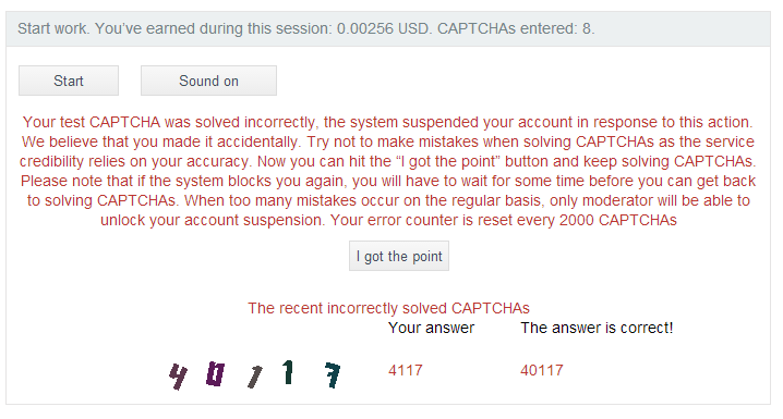 worker ID banned reasons for 2captcha.com
