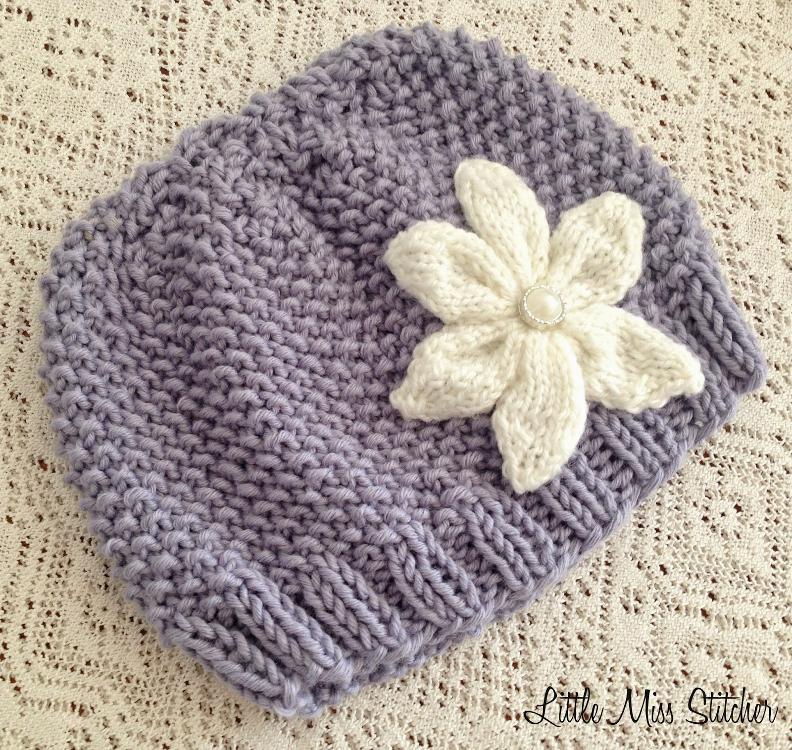 Little Miss Stitcher Textured Knit Toddler Hat Free Pattern