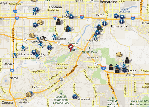 Riverside County CA Crime Map SpotCrime The Publics Crime Map - California map riverside county