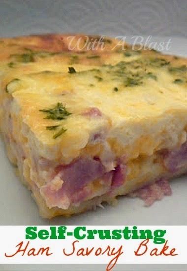 Crustless Ham Savory Bake ~ Self-Crusting Ham Savory Bake ~ great for leftover ham #SavoryPie #Breakfast #LeftoverHam