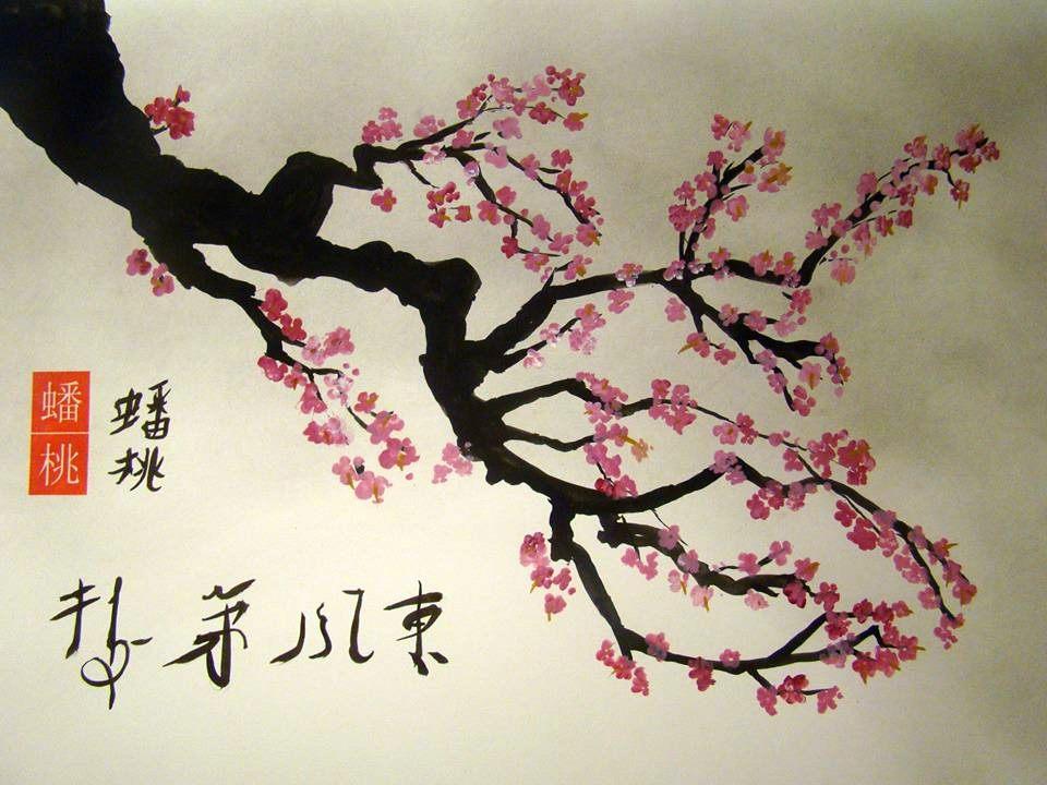 veronique renard visual artist cherry blossom chinese brush painting