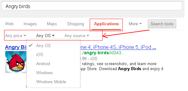 Search Specific Mobile App