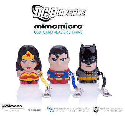 DC Comics Mimomicro Designer USB Card Reader &amp; Drive by Mimoco - Wonder Woman, Superman &amp; Batman