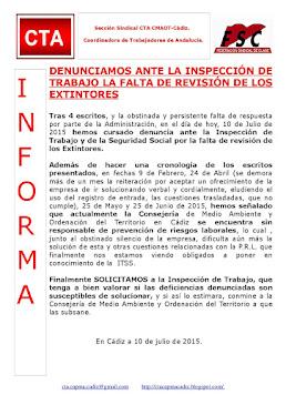 DENUNCIAMOS ANTE LA INSPECCIÓN DE TRABAJO LA FALTA DE REVISIÓN DE LOS EXTINTORES