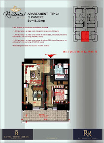 Apartament 2 camere OpenSpace - 46,33 mp
