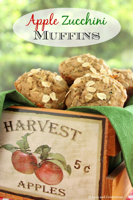 Apple Zucchini Muffins from LoveandConfections.com #MuffinMonday