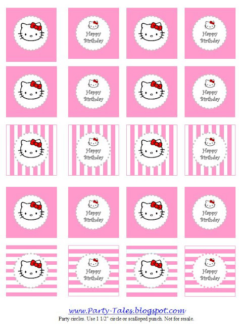 Party tales party printable hello kitty party circles cupcake click here to download file free personalized printable cupcake toppers maxwellsz