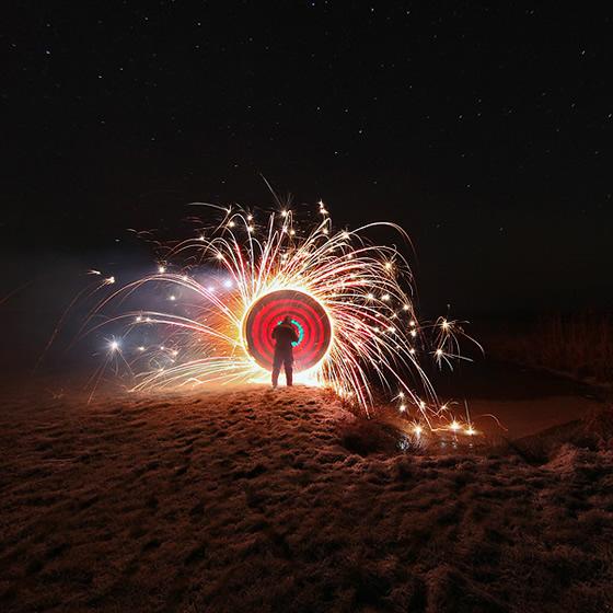 Fotos e pinturas de luz feitos à noite