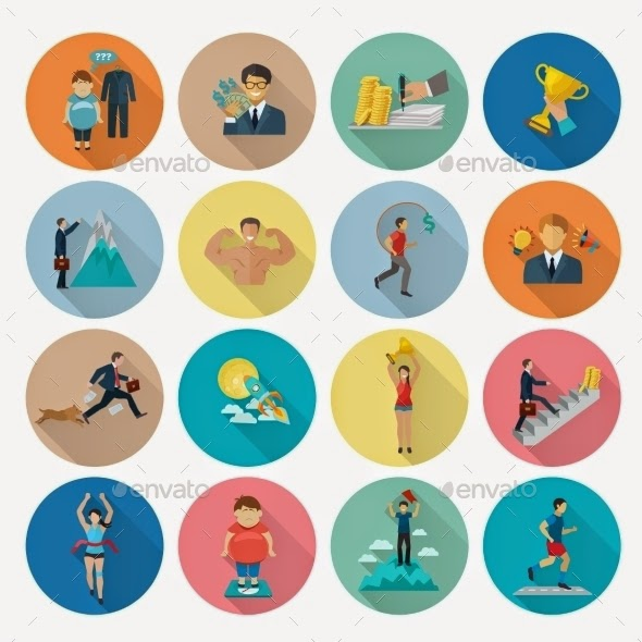 Motivations rounded flat icons