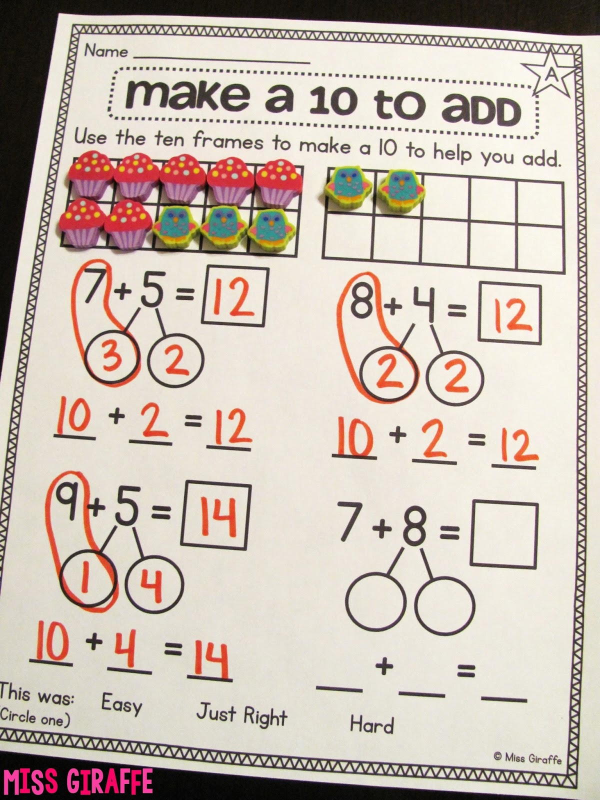 Miss Giraffes Class Making a 10 to Add – Tens Frames Worksheets