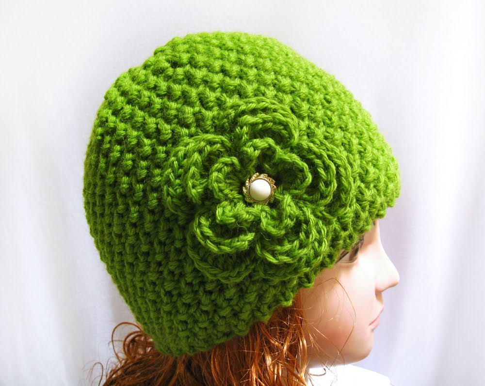 Knitting pattern beanie hat, hand knit with flower n 35