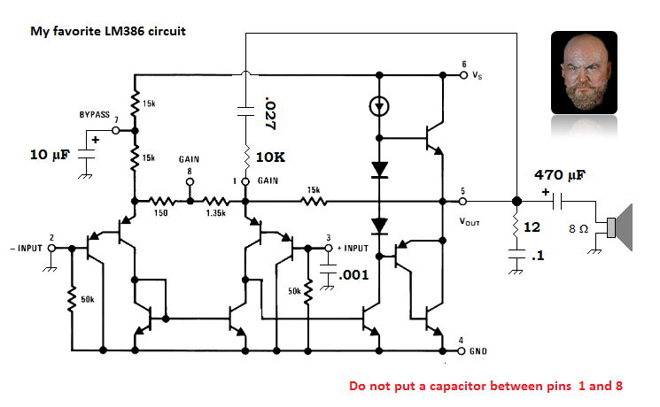 An LM386N-4 schematic with the needed bypass and feedback tweaks to make it sing sweetly