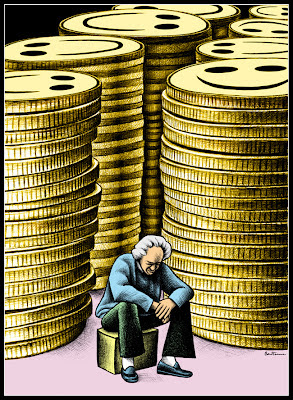 sad rich man with a stack of gold coins
