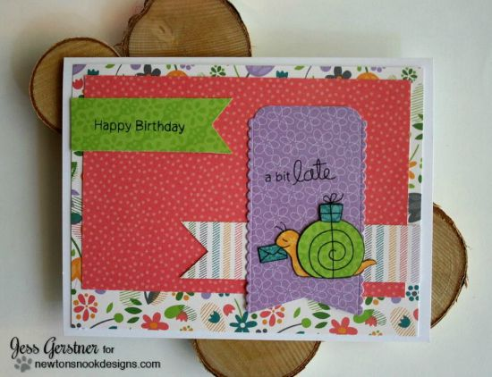 Belated Snail Birthday Card by Jess Gerstner | In Slow Motion Stamp set by Newton's Nook Designs #snailmail #birthday