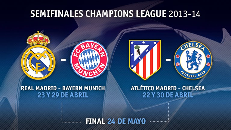 REAL MADRID VS BAYERN MUNICH, ATLETICO VS CHELSEA, CHAMPIONS LEAGUE, ONLINE