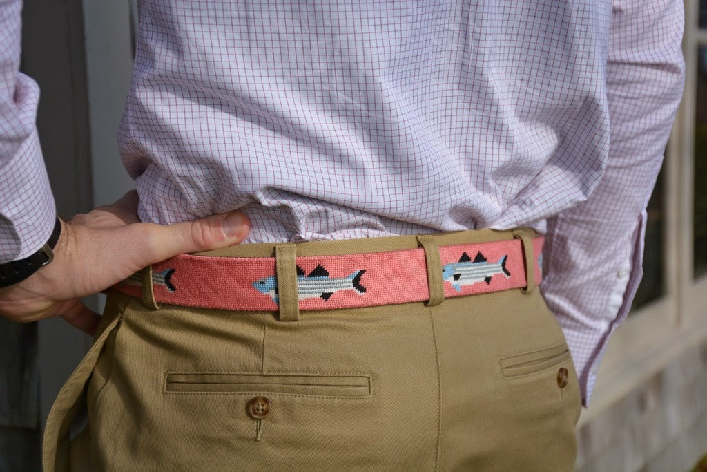 Harding Lane Striped Bass on Salmon Needlepoint Belt Preppy trad Ivystyle