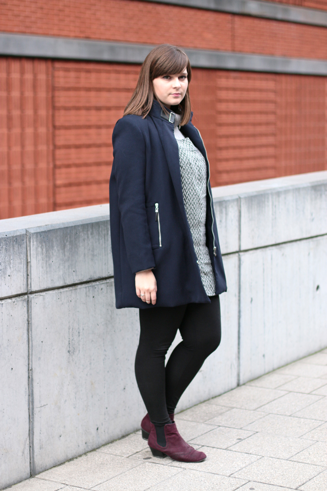 outfit blue fall coat grey dress
