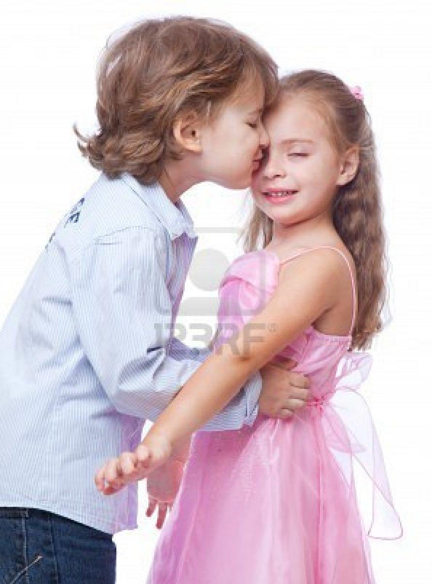 Cute baby girl and boy in love little girl love a little boy