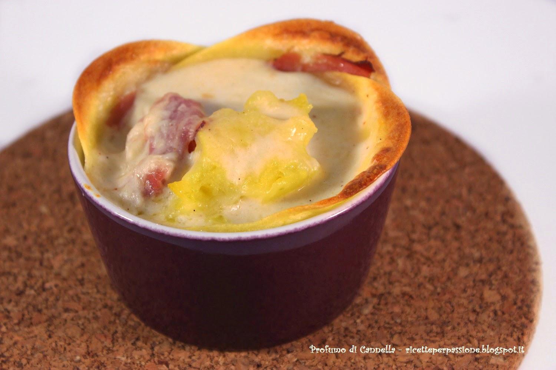 lasagna monoporzione con speck e patate - sfoglia fatta in casa alla zucca