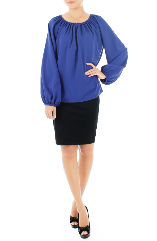Gathered Wish Long Sleeve Blouse – Monaco Blue