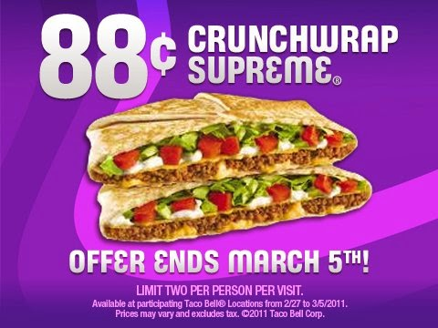 photograph regarding Taco Bell Printable Coupons identified as Taco bell printable coupon codes april 2018 - Golfing club specials canada