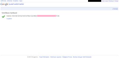 Cara Daftar Blog di Google Webmaster Tools - Selesai