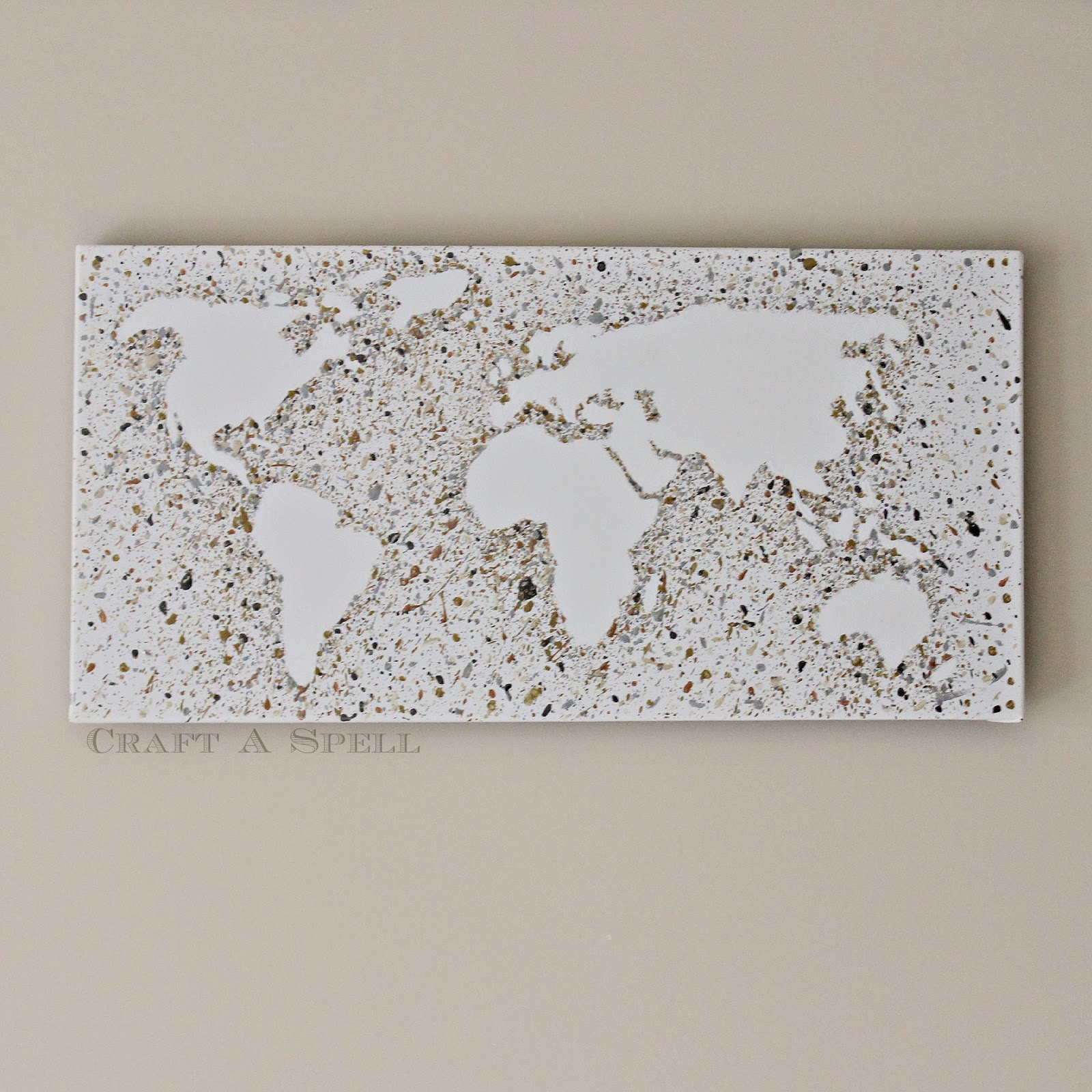 Craft a spell metallic world map splatter art metallic paints i used martha stewarts metallic line in gold light gold copper pewter platinum and sterling silver paint brushes 12x24 canvas gumiabroncs Gallery