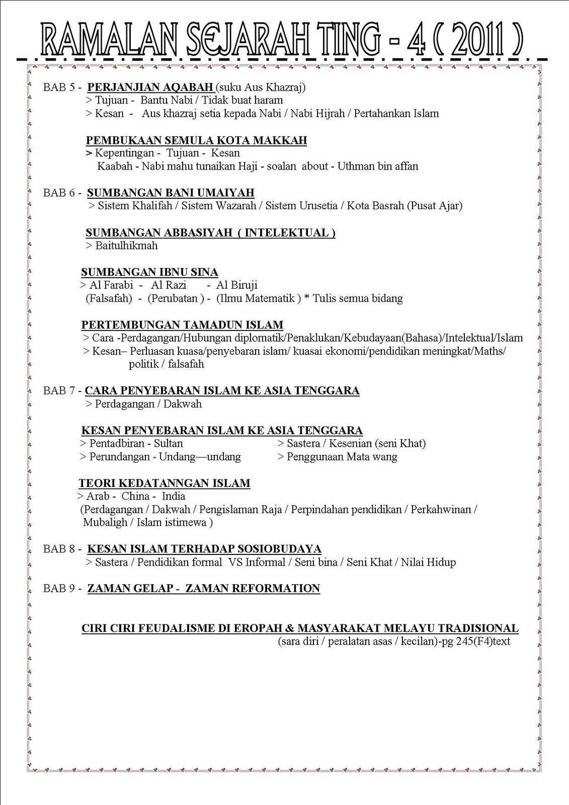 Ramalan Sejarah Spm 2011