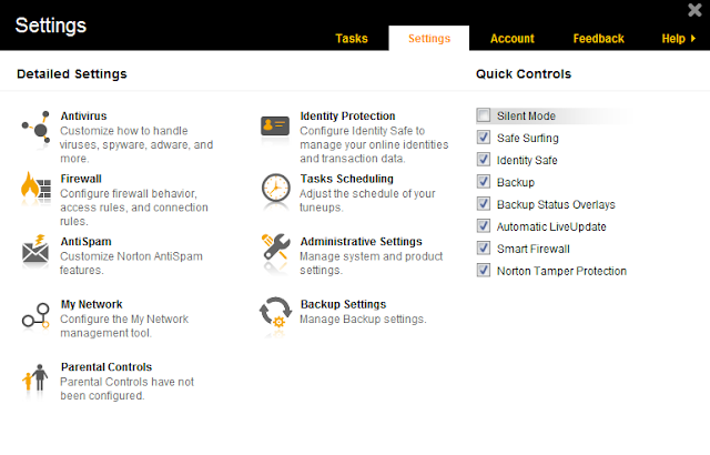 Norton 360 2014 v21.1 - Settings