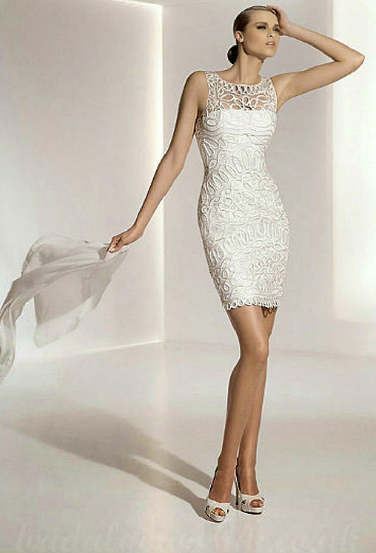 White casual second marriage short wedding dresses for Bridal dresses for second weddings