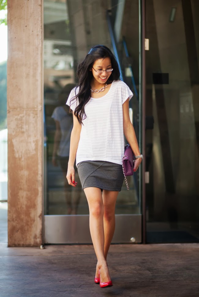 mini skirt tshirt gucci gloria chanel purple