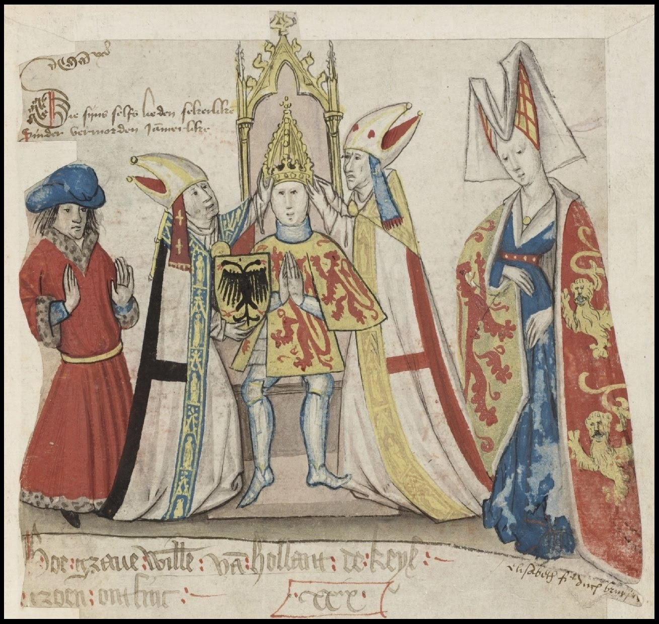 medieval manuscript illustration of Duke on throne being crowned by biships