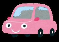 車のキャラクターのイラスト(ピンク)