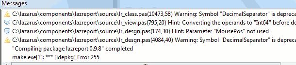 make.exe error idepkg 255