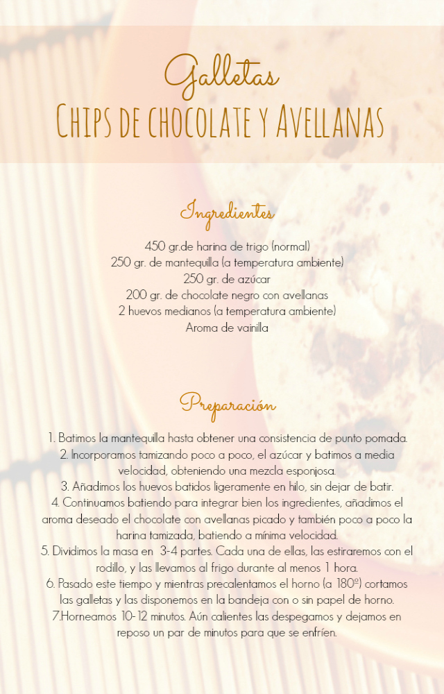 receta galletas chips de chocolate y avellanas