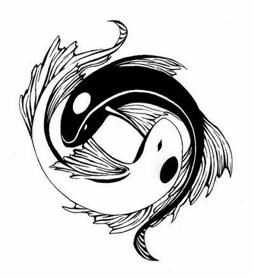Yin Yang fishes tattoo stencil