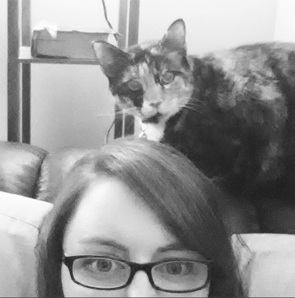 cat mom, black and white, glasses, dixie