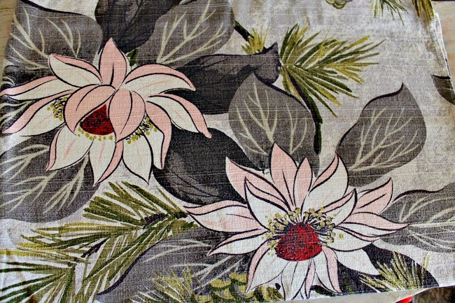 vintage mid century 1950s tiki floral pink grey olive print barkcloth curtain fabric